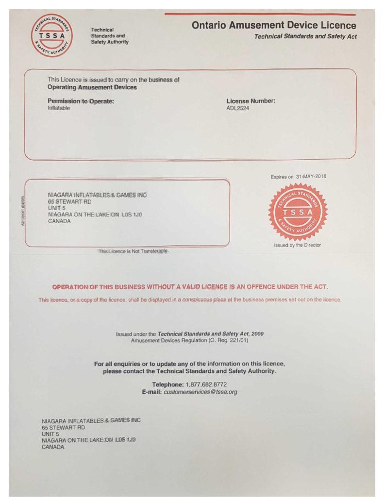 2015-16 TSSA Licence